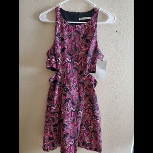 Zara Trafaluc Purple Floral Cutout Dress